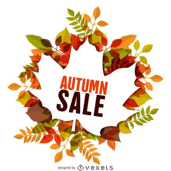 Etiqueta de venta de otoño con hojas
