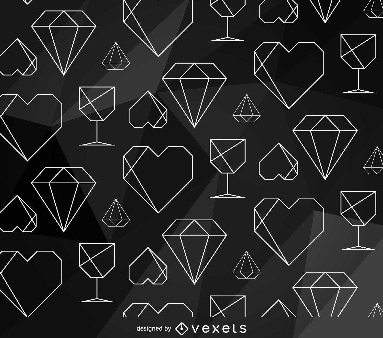 Minimalist polygonal element pattern