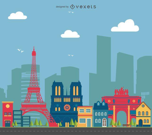Ilustración del paisaje urbano de París