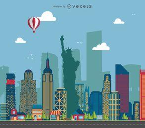 Ilustración del paisaje urbano de Nueva York