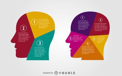 Cabezas ilustradas infograficas