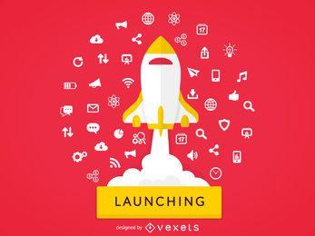 Ilustração do conceito de lançamento de foguete