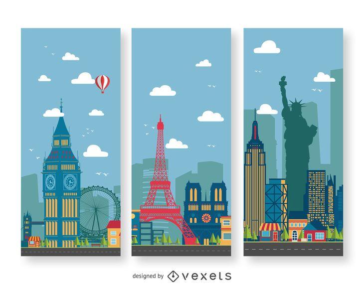 Banderas de ilustración de paisaje urbano