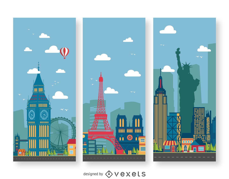 Banners de ilustración de paisaje urbano