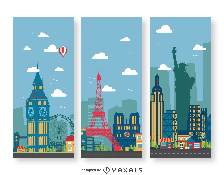 Cityscape illustration banners