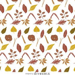 Padrão de folhas de outono escuras