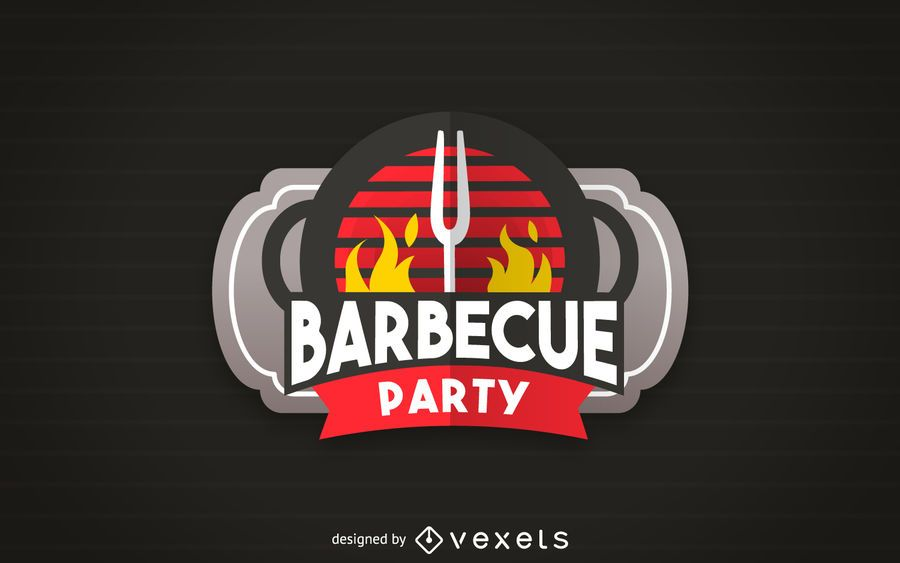 Barbecue party label