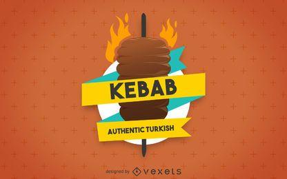 Etiqueta de ilustración de kebab