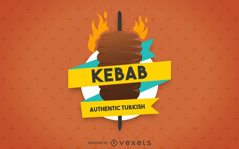 Kebab illustration label