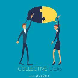 Ilustración de ideas colectivas de trabajo en equipo.