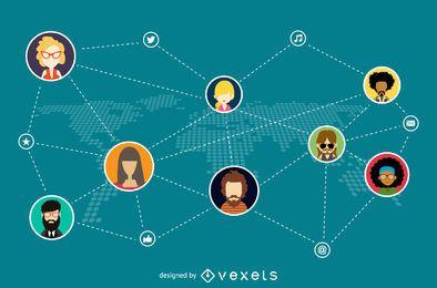 Ilustración red social