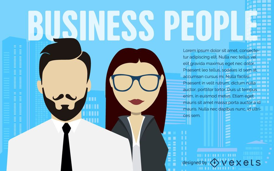 Business people illustration poster