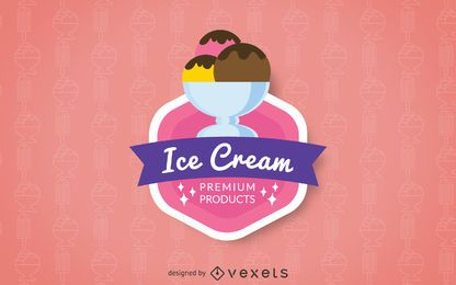 Ice cream logo badge