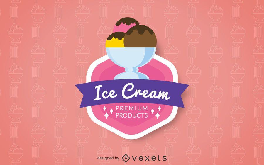 Ice cream logo badge