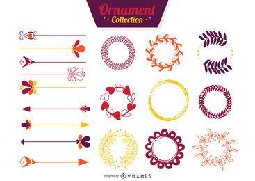 Flache Ornament-Sammlung