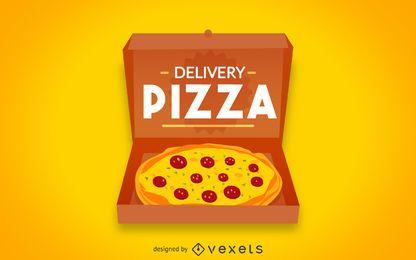 Insignia de logotipo de pizza plana