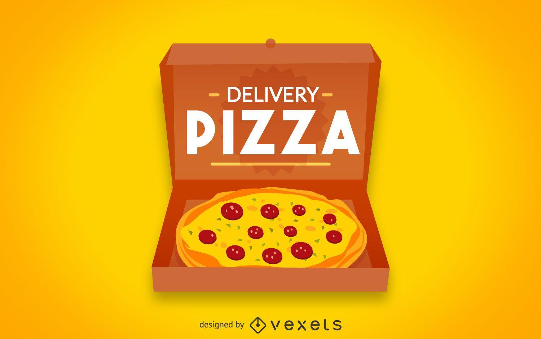 Insignia de logo de pizza plana