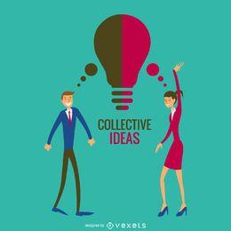 Ilustração de idéias de equipe