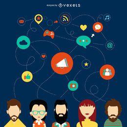 Ilustración de red social plana
