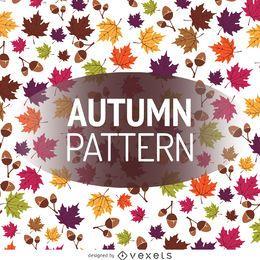 Patrón de hojas y bellotas de otoño