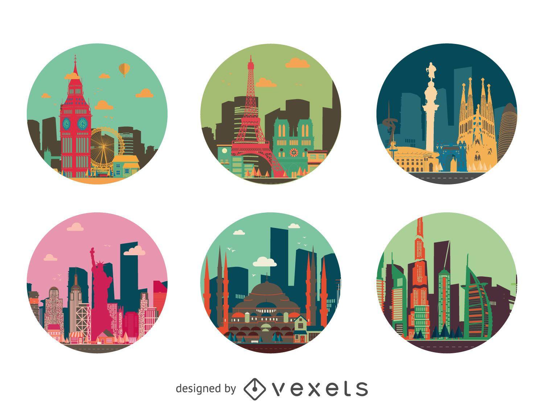 Conjunto de insignias de edificios de la ciudad
