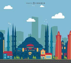 Ilustração da paisagem urbana da Turquia