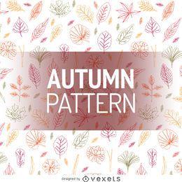 Patrón de contorno de hojas de otoño