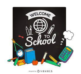 Cartel de vuelta a la escuela
