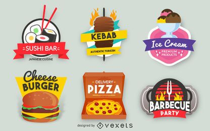 Conjunto de etiquetas de fast food