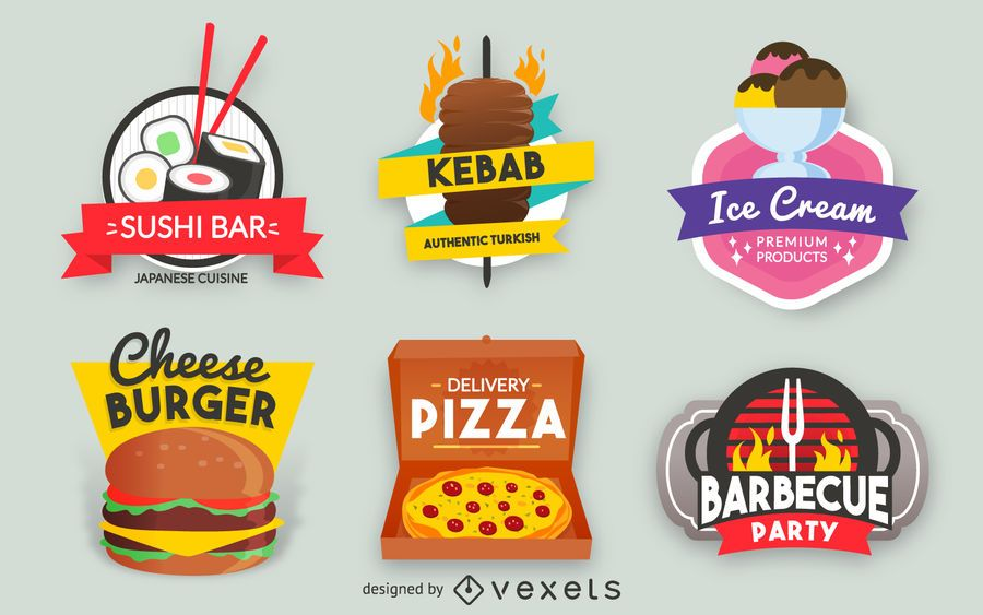 Fast food label set