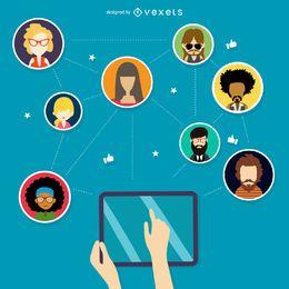 Ilustración de la red social de tecnología
