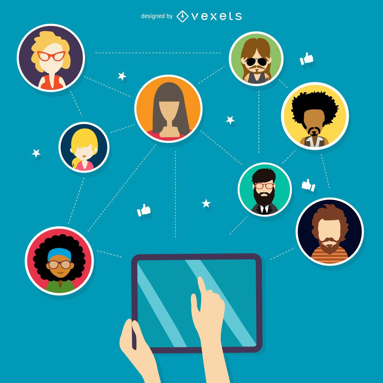 Ilustração de rede social de tecnologia
