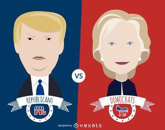 Ilustração dos desenhos animados de Clinton e Trump