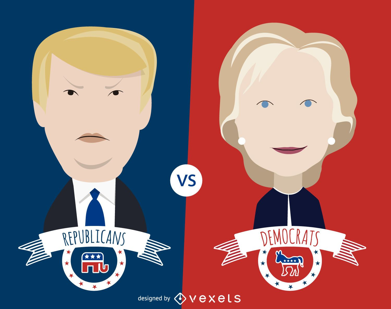 Clinton and Trump cartoon illustration