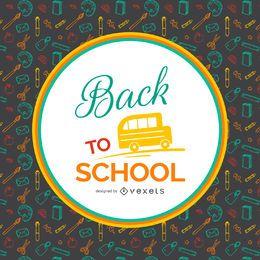 Back to School Musterhintergrund mit Etikett
