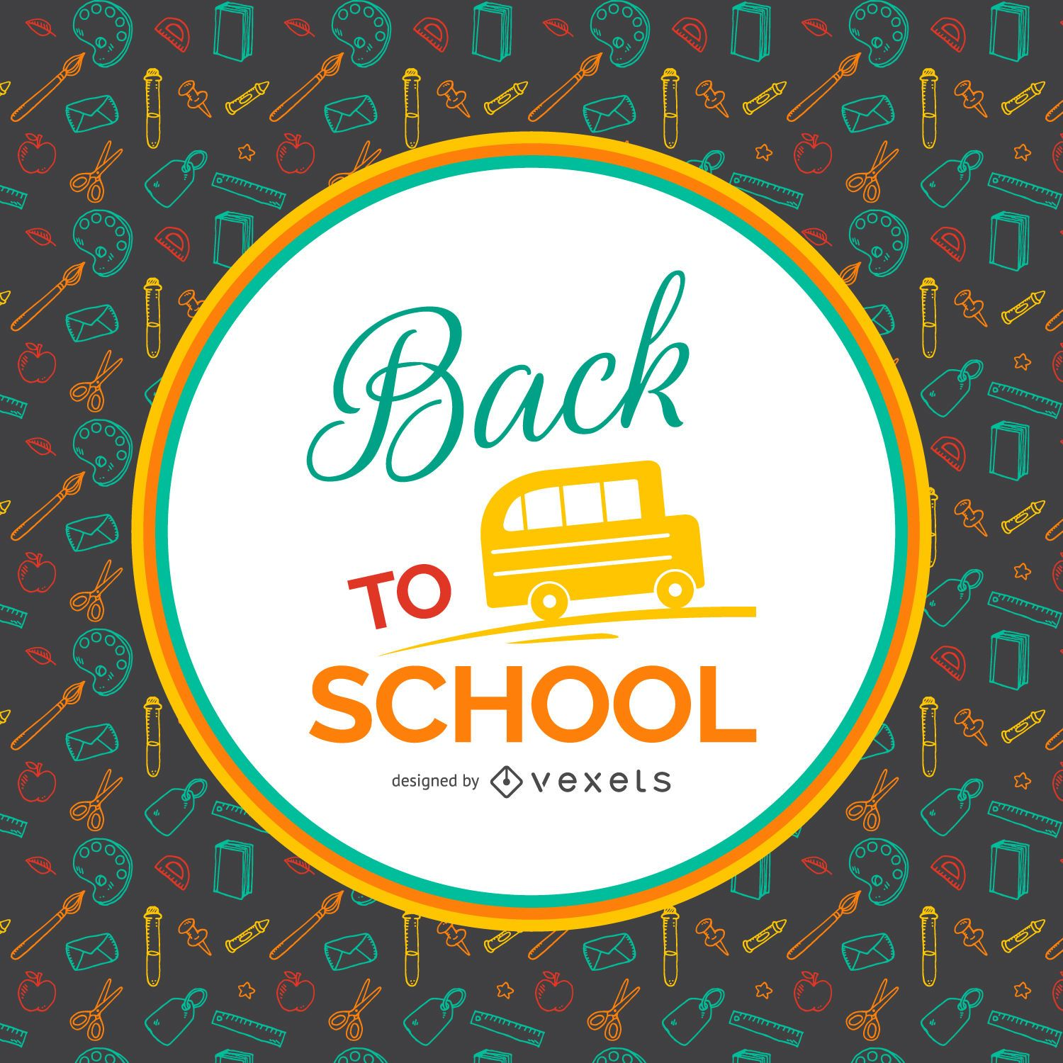 Back to school pattern background with label