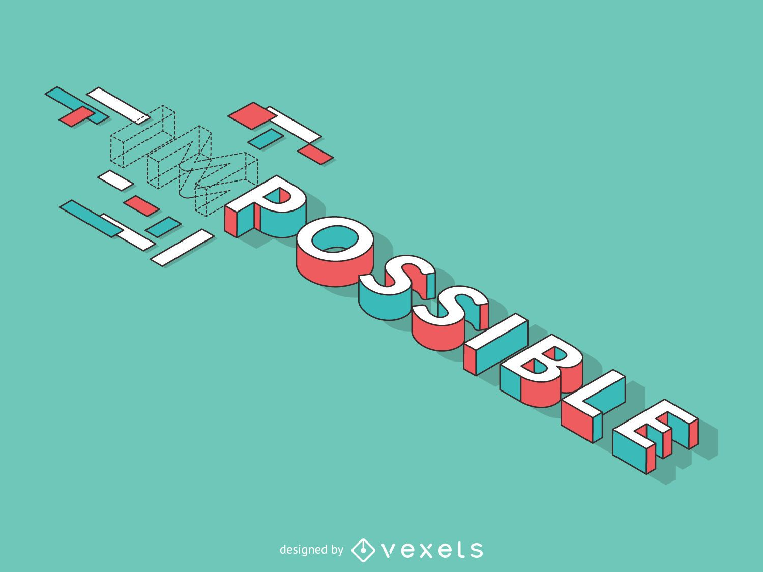 Flat impossible to possible illustration