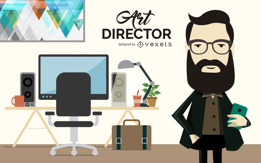 Ilustración de director de arte plano