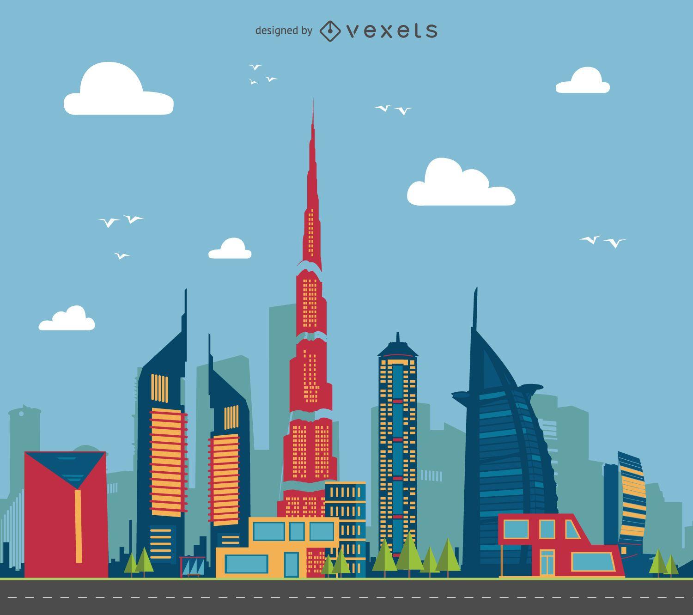 Ilustración del paisaje urbano de Dubai