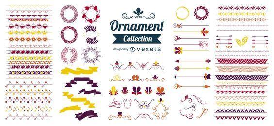 Coleção de ornamentos decorativos plana