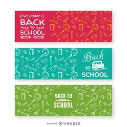 Banners de patrones de regreso a la escuela