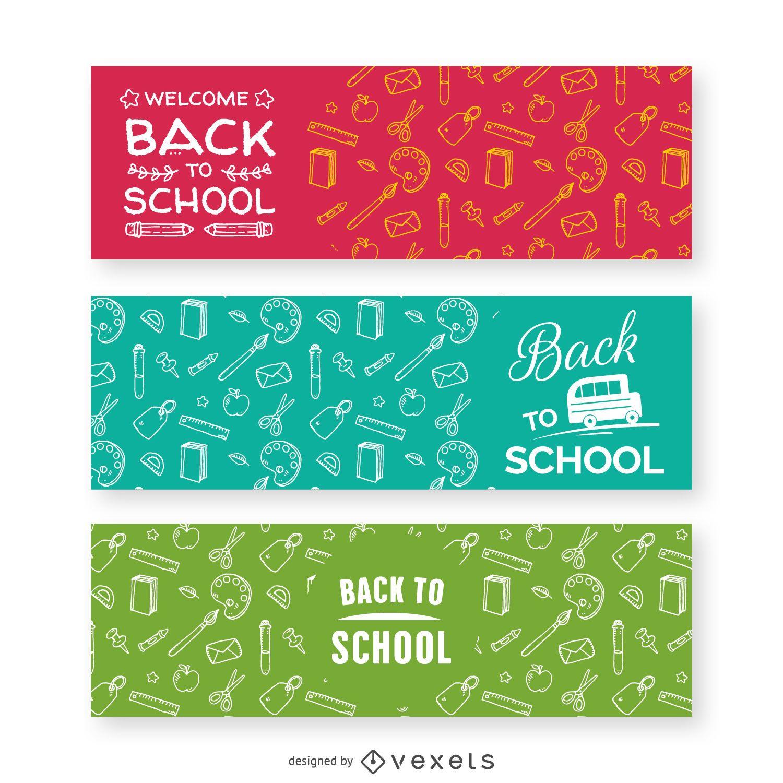 Banners de patrón de regreso a la escuela