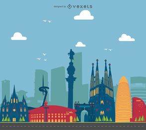 Barcelona buildings landscape illustration