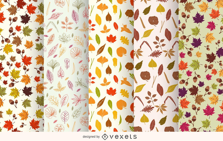 Conjunto de patrones de hojas de otoño