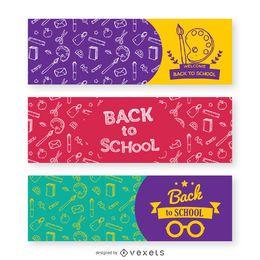 3 banners de volta à escola