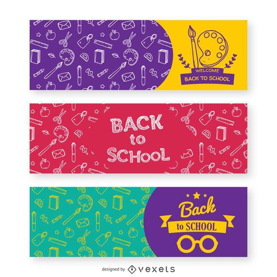 3 banners de volta às aulas