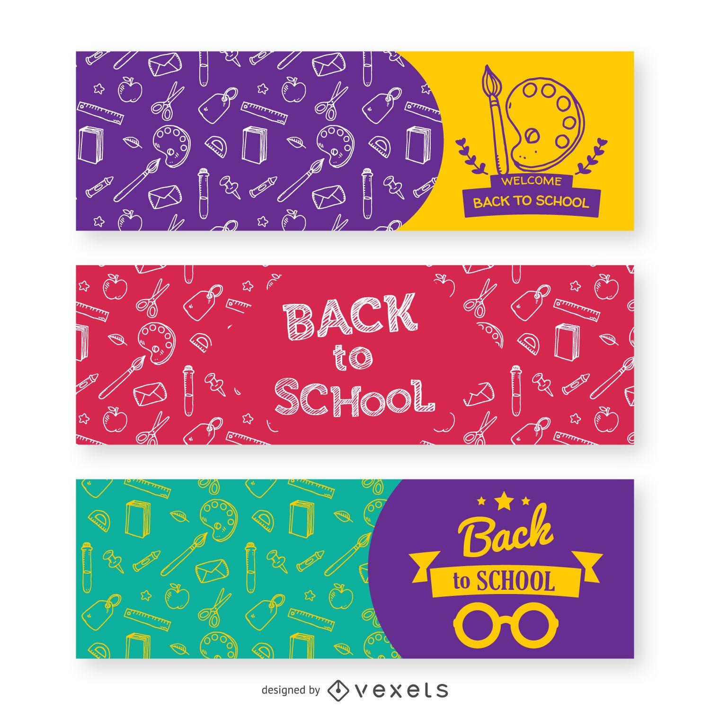 3 pancartas de regreso a la escuela