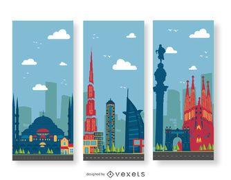 Edificios ilustración banderas del paisaje