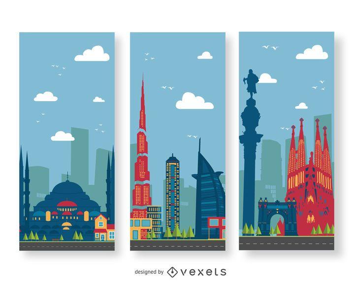 Building landscape illustration banners