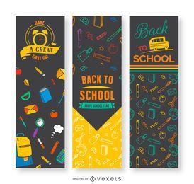 Banners verticales de regreso a la escuela.